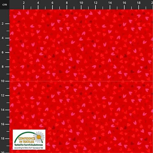 PW-Stoff Best Bits kleine Herzen auf rot - STOF