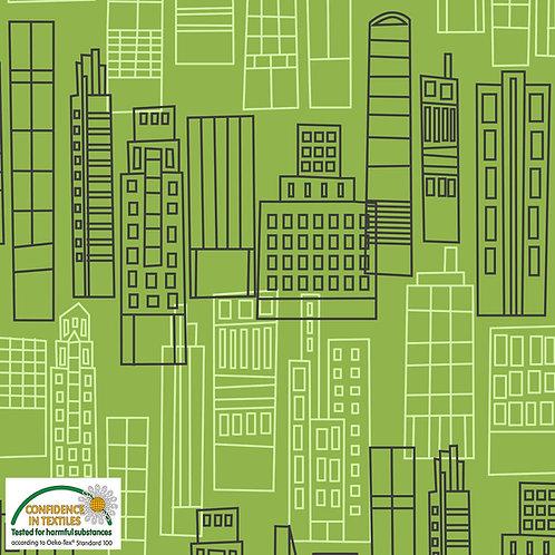 Avalana Jersey Häuser auf grün - STOF
