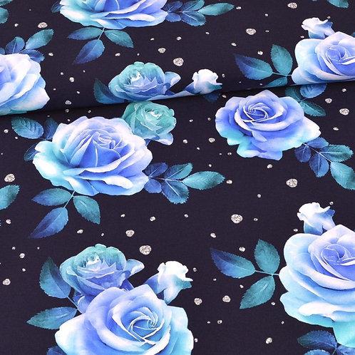 French Terry - Rosen blau auf du.blau - Glitzerpüppi
