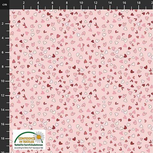 PW-Stoff Best Bits kleine Herzen auf rosa - STOF