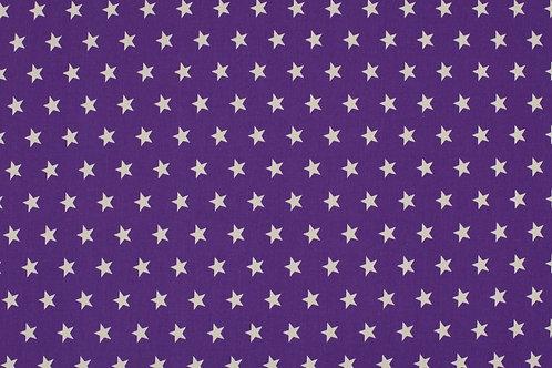PW-Stoff lila wei�e Sterne 145 cm - Quality