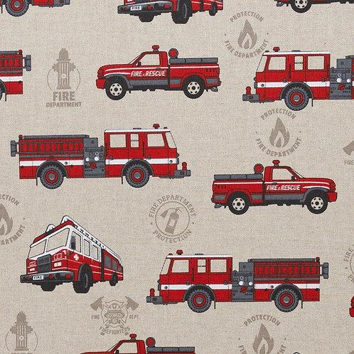 Leinenoptik Emilia Feuerwehrautos 140cm Swafing