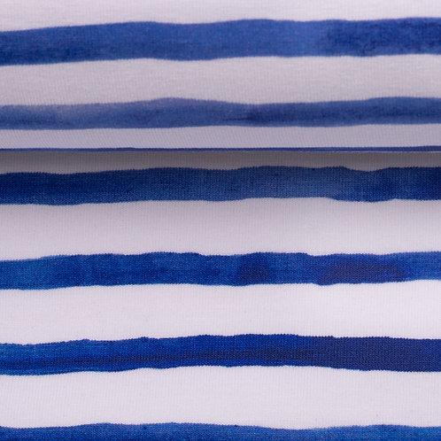 BW Jersey Ocean Breeze weiß-blau gestreift 155 cm - Swafing
