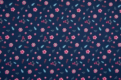 Jersey BW/EA 95/5% Flowers Navy