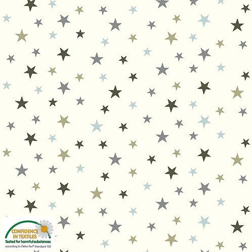 Jersey wei� mit Sternen STOF