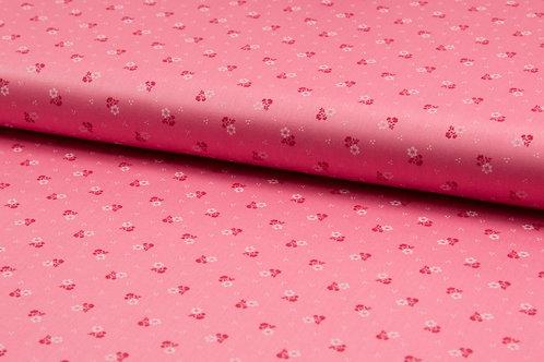Kleidersatin Romantico Coral / pink Streubl�mchen r/w
