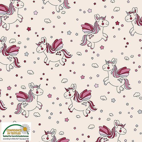 Avalana Jersey pink-rote Einh�rner auf natur - Stof