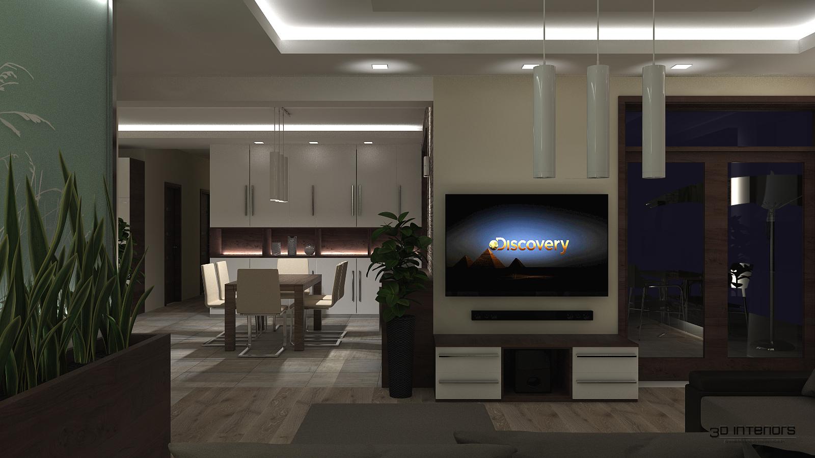 Nappali - Étkező - Konyha 3D Terv
