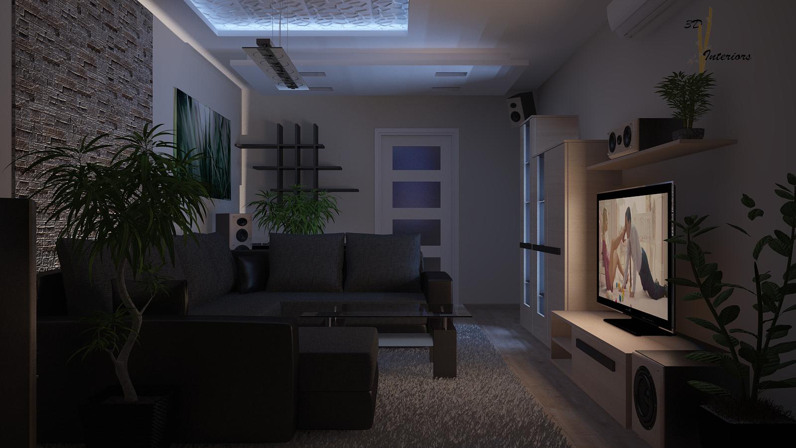 Panel lakás nappali látványterve