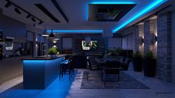 Modern Mediterrán Nappali Étkező Konyha 3D Terve