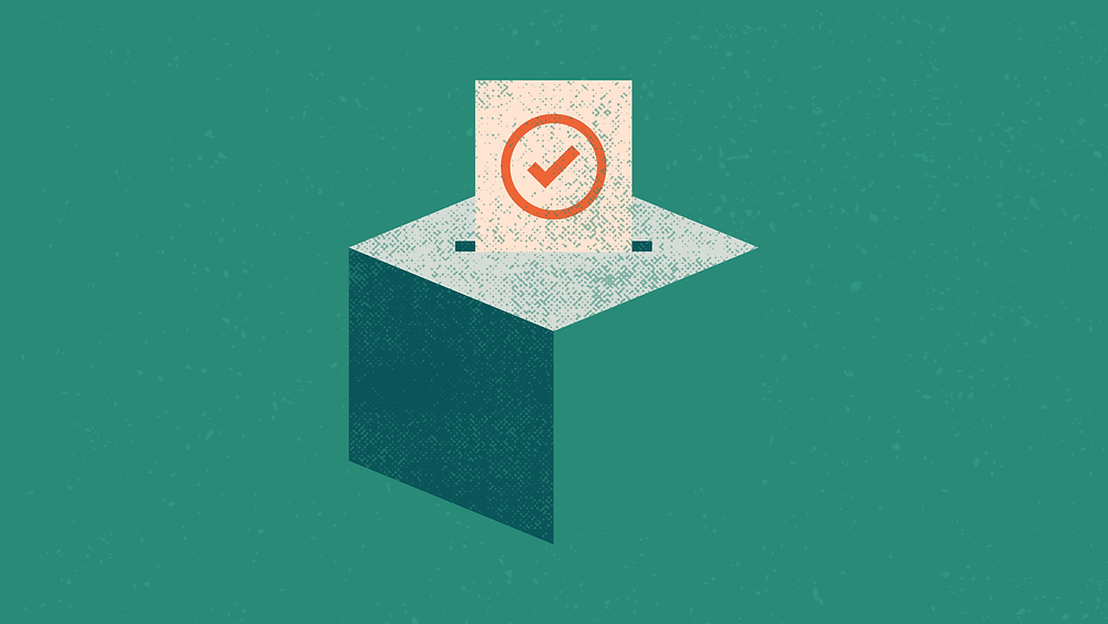 Image Description: A Digital Illustration of a ballot being submitted into a ballot box.