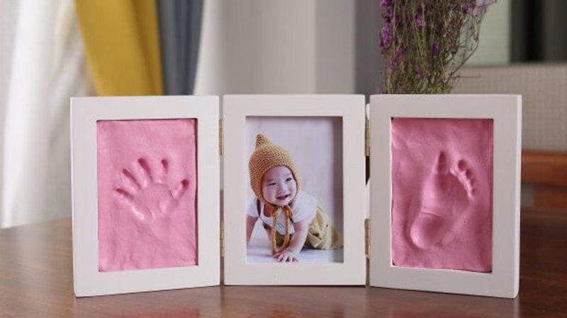 Cute Baby Photo Frame DIY Handprint Imprint Air Drying Soft Clay Foo