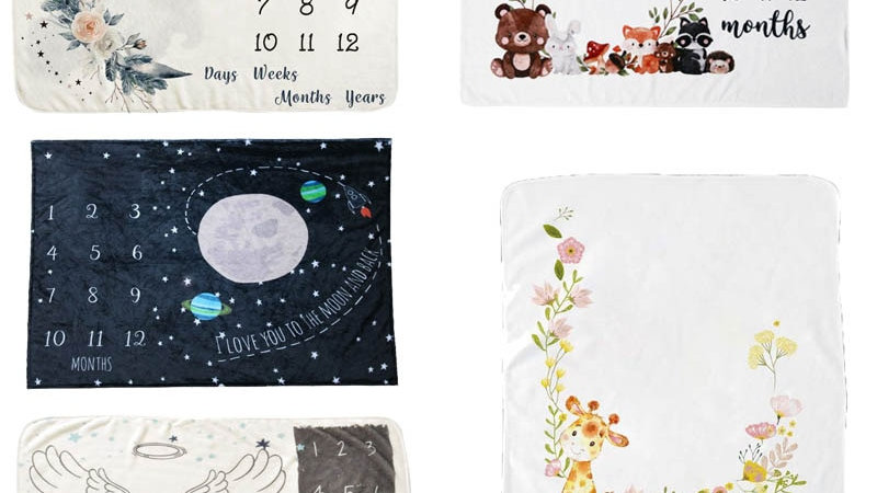 Unisex Baby Monthly Milestone Blanket Universe Flannel Baby Photography Ba