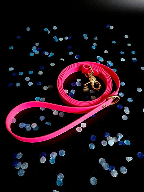 Laisse néon rose - or