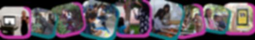 #PraCegoVer #PraTodosVerem Audiodescrição:Fileira de nove fotos. Na primeira foto é vista Eloá, na tela de uma câmera e ela ao fundo, de preto sinalizando com as mãos. Na segunda é visto um homem com a mão em folhas de papel verde, penduradas em galhos. Na terceira são vistas crianças de costas enfileiradas em uma trilha estreita com pétalas rosa e vegetação no entorno. Na quarta são vistas mulheres sentadas em carteiras azuis em uma sala. Há papéis e post-its nas mesas. Na quinta são vistas uma menina e uma mulher de costas, a menina segura uma prancheta e a mulher toca em uma flor roxa em uma árvore. Na sexta, são vistas Andréia e uma jovem com a mão em um molde em uma caixa de areia. Na sétima são vistas pessoas em volta de uma mesa com mudas de plantas. Na oitava há mulheres vendadas. Na nona é vista uma mão segurando um celular, na tela há uma foto de um cervo com um texto.