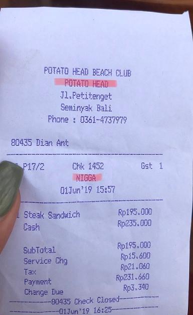 potato head beach club bali receipt