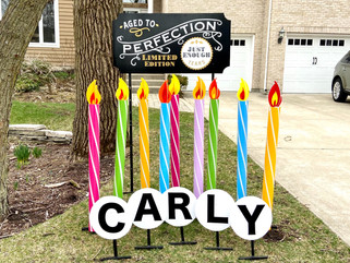 """9 candles with Aged to Perfection """"just enough"""" topper"""