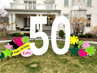50 with pink, hot pink, lime, yellow, and black accents