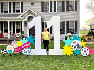 11 with teal, neon yellow, turquoise & hot pink accents with Born to Swim, softball, soccer ball, cupcake, and happy puppy specialty accents