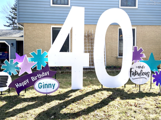 """40 with teal, light purple, and purple accents with """"and """"fabulous"""" and book stack specialty accents"""