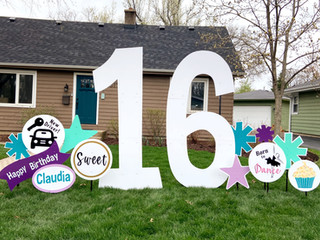 15 with purple, teal, turquoise accents with New Driver, Born to Dance, cupcake and Sweet specialty accents