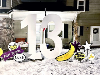 13 with purple and specialty banana accents