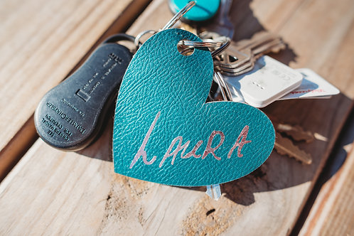 Faux Leather ID Keychain