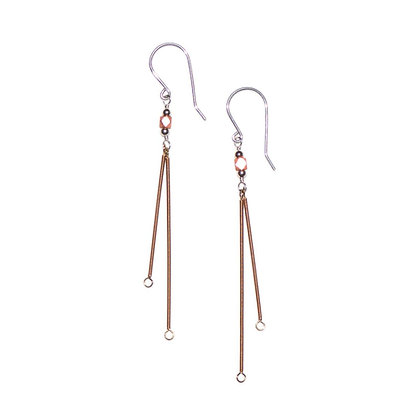 Gem and Two Bars Earrings