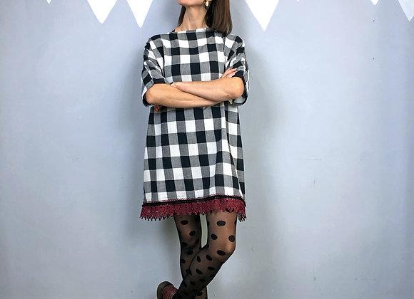Maxi maglia Denise linea ampia in tessuto vintage con passamaneria