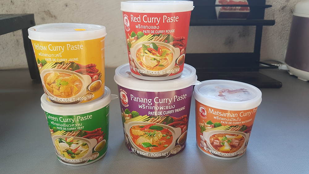 Les Currys (cari) Thaï (massala en Inde