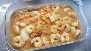 Crevettes ou Poulet au Curry Jaune :