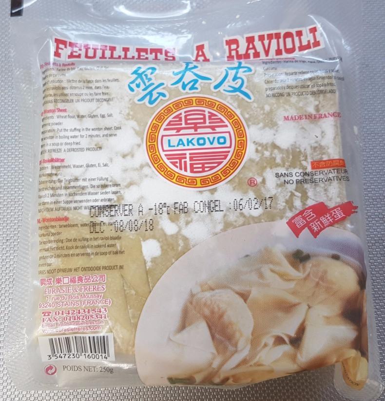 feuilles à raviolis chinois
