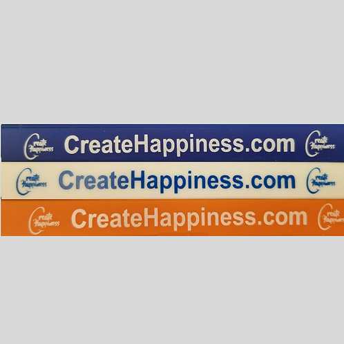 Package of Create Happiness Rubber Bracelets