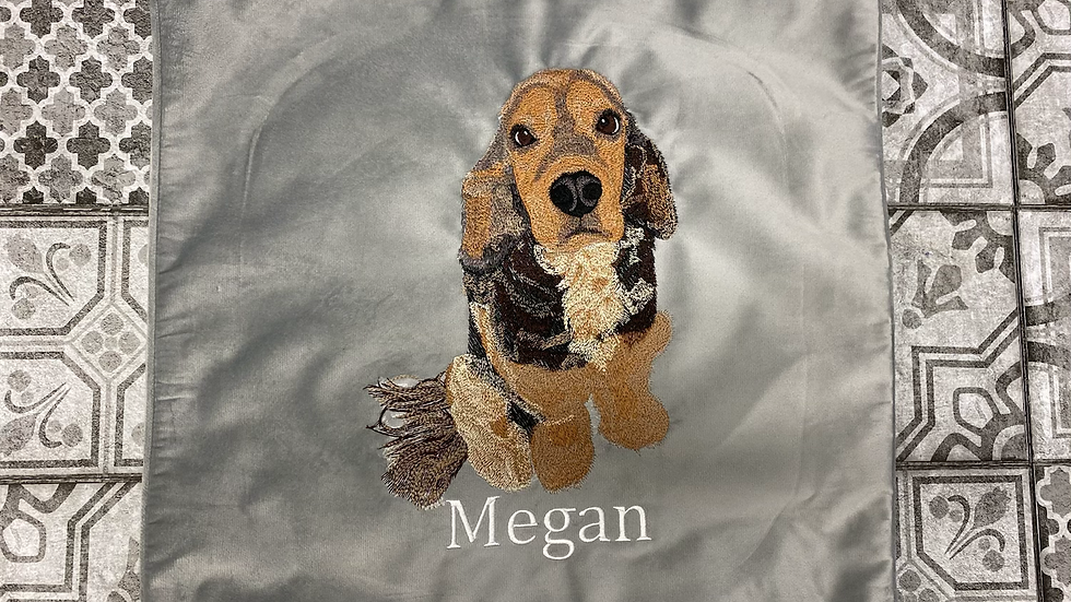 Bespoke Personalised pet embroidered cushion cover