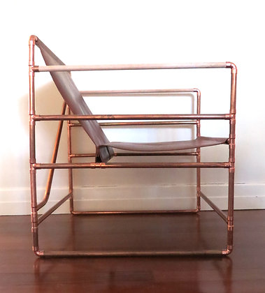 Lounge Chair in Copper and Leather