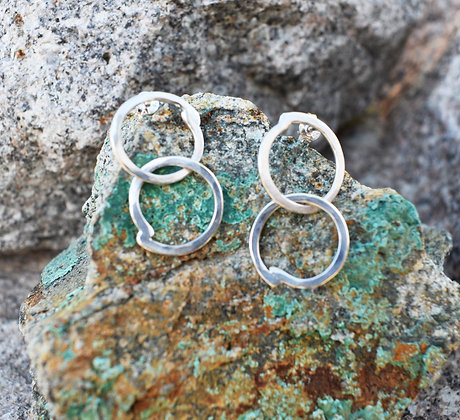 Circle-Circle Silver Earrings
