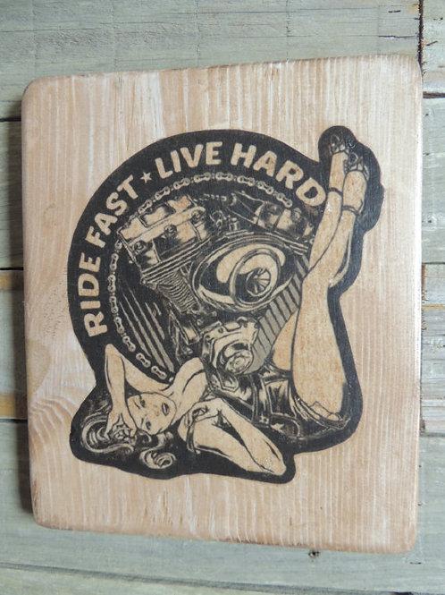 Ride Fast, live Hard biker pin up wood plaque