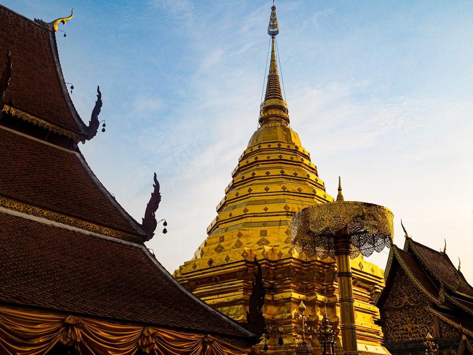 Sunrise at Wat Phra That Doi Suthep, Buddhist Temple in Chiang Mai, Thailand