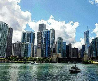 Chicago architecture from the rive