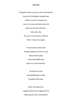 Ellie's fantastic snow poem!