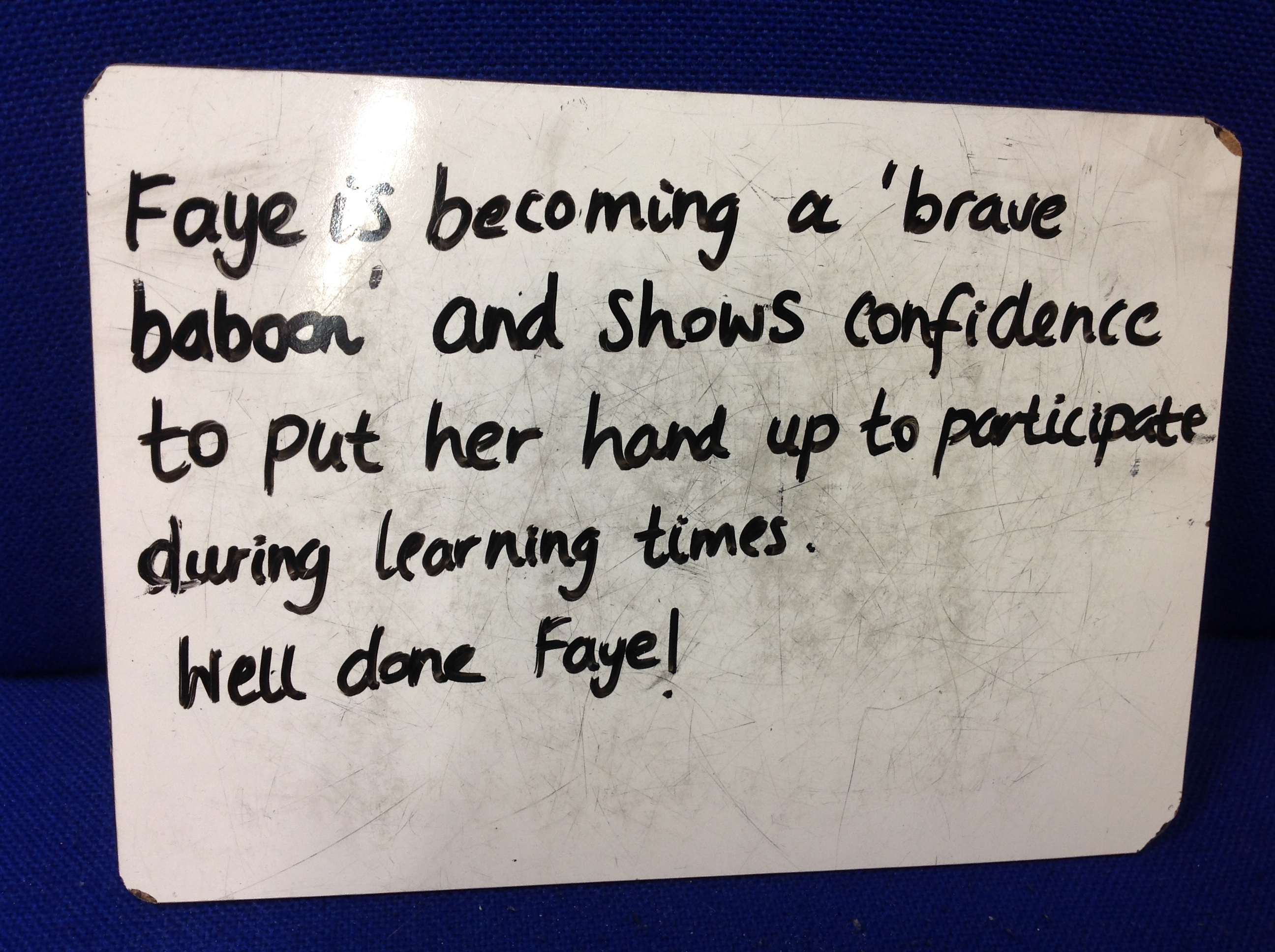 Faye's brilliant confidence!