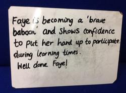 Faye's brilliant confidence!