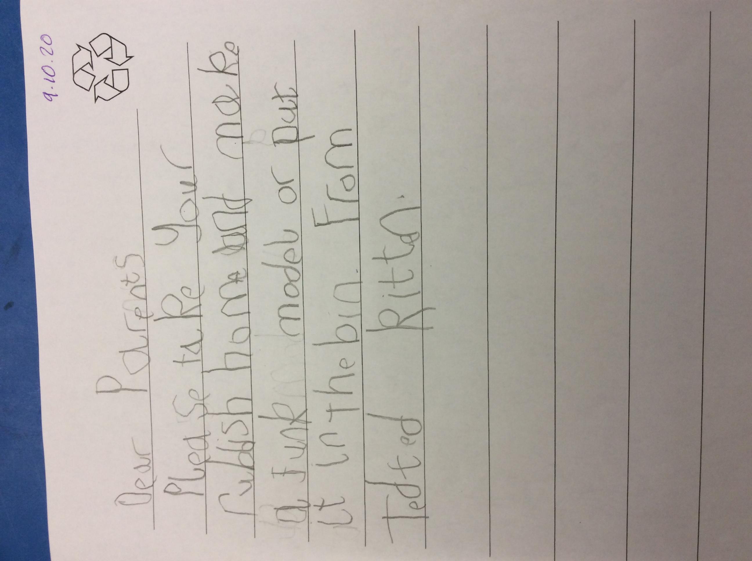 Teddy's wonderful writing!