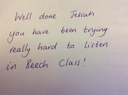 Jesiah's excellent progress!