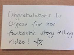 Orgesa's fantastic story telling!