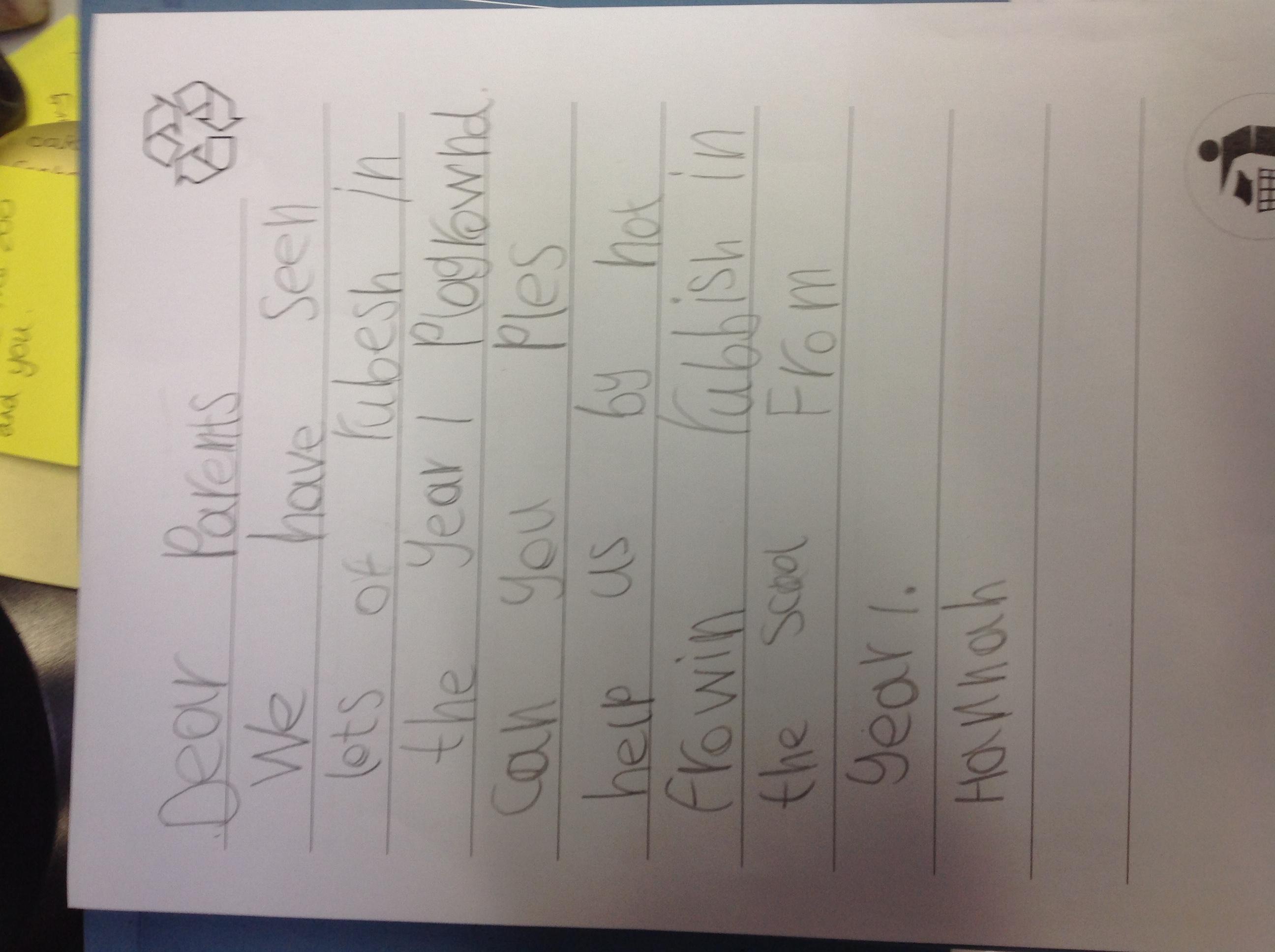 Hannah's brilliant writing!