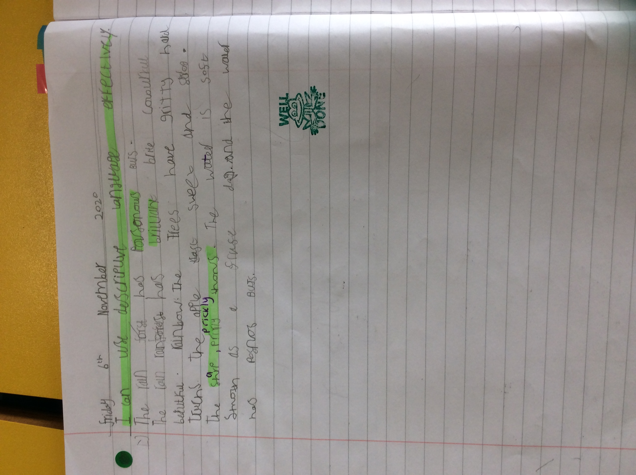 Freddie's great rainforest description!.