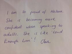 Helena's brilliant confidence!