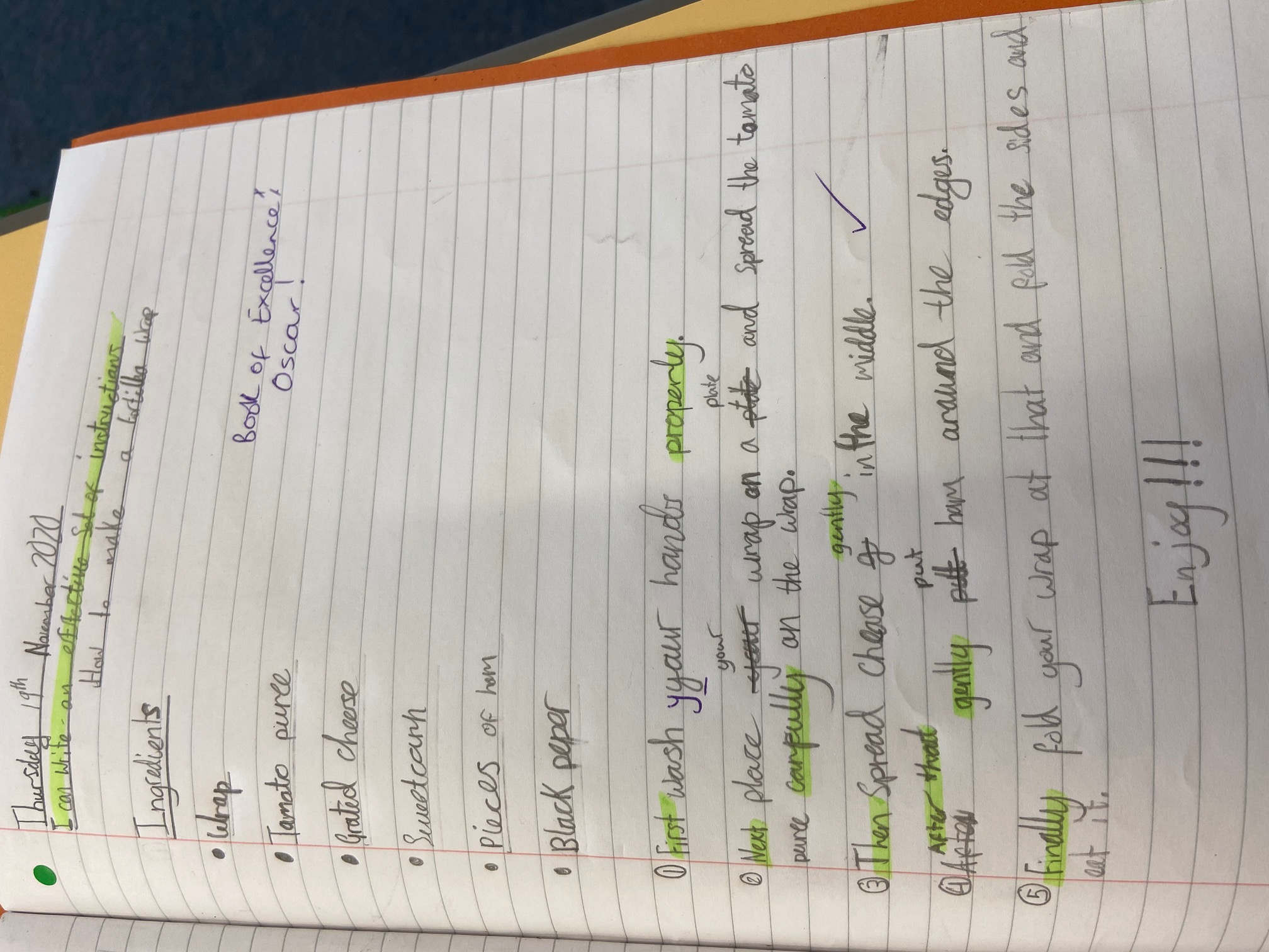 Oscar's wonderful writing!