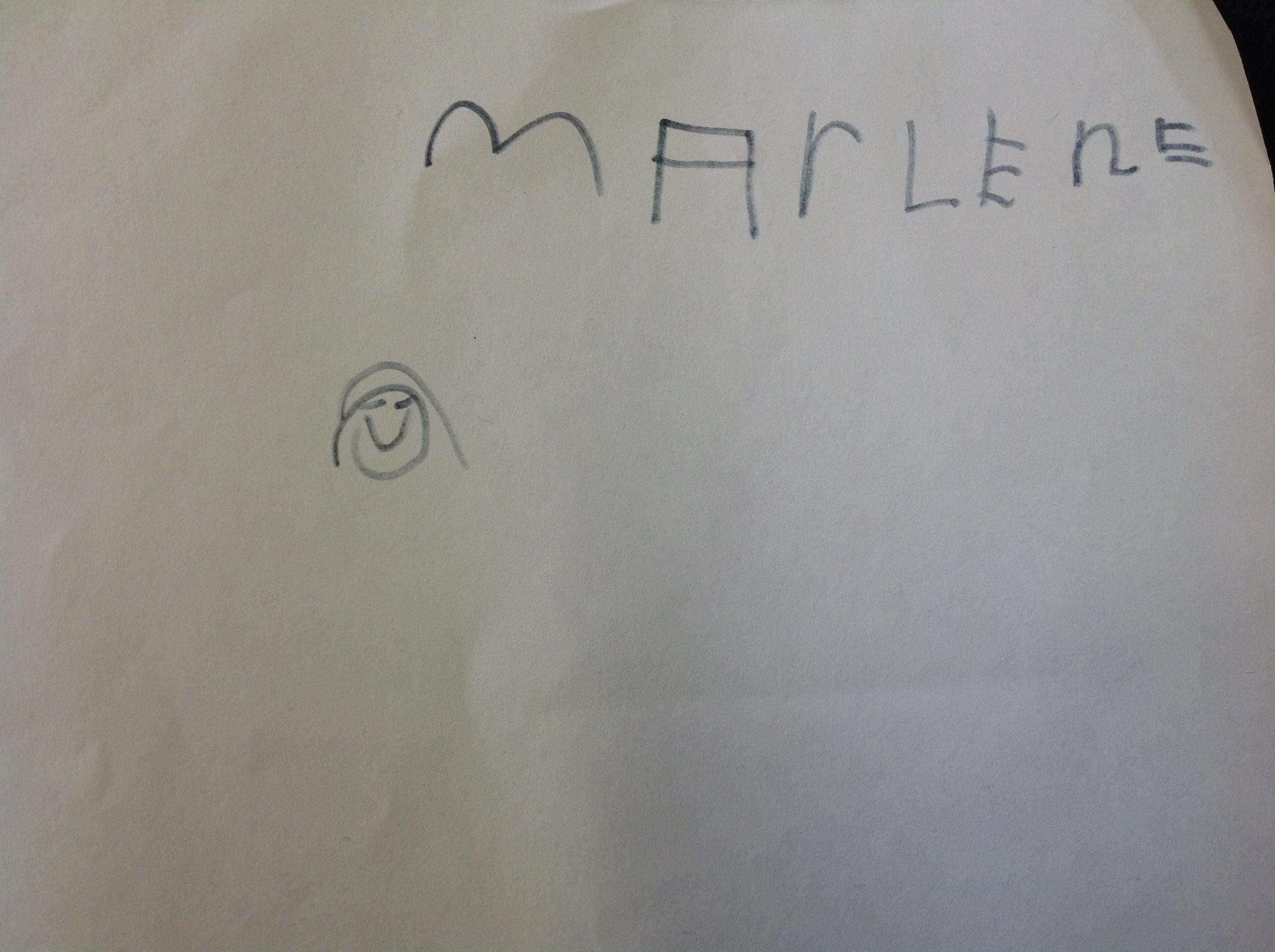 Marlene's wonderful name writing!
